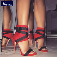 VANGULL Sexy Women Sandals Pumps Open Toe Zip Strap Sandals 2019 New High Quality Women Stiletto Party Wedding Shoes size 35 40