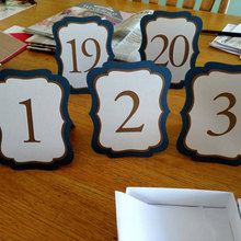 Navy blue, free standing Wedding Table number cards