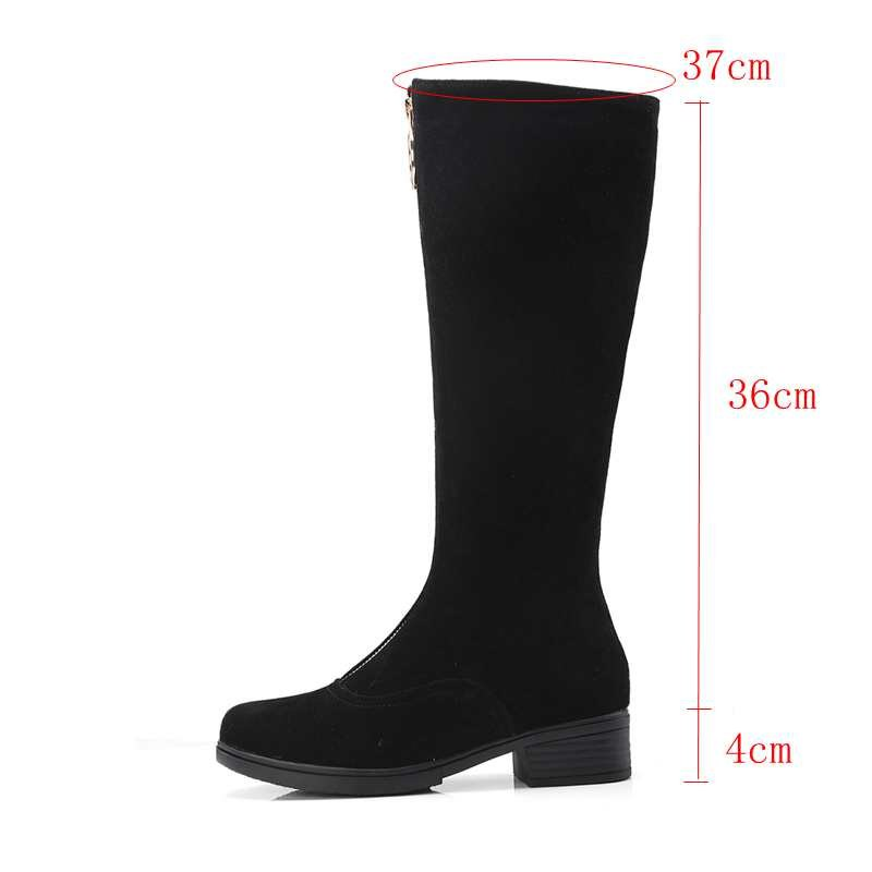 bc3cfc312a3 SIMLOVEYO 2019 Round Toe Zipper Knee High Boots Faux Suede Over The ...