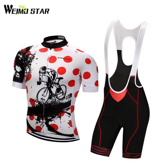 56ed7d830 Weimostar Cycling Jersey set Men women Red Dots Cycling Clothing Roupa  ciclismo Breathable Bicycle Jersey bib shorts set cycle