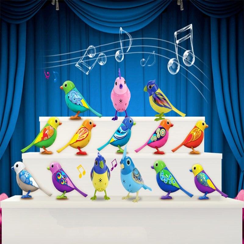 Digi azar Mascotas Aves Pájaro Cantando Música Eléctrica Juguetes de Aves Con Pi