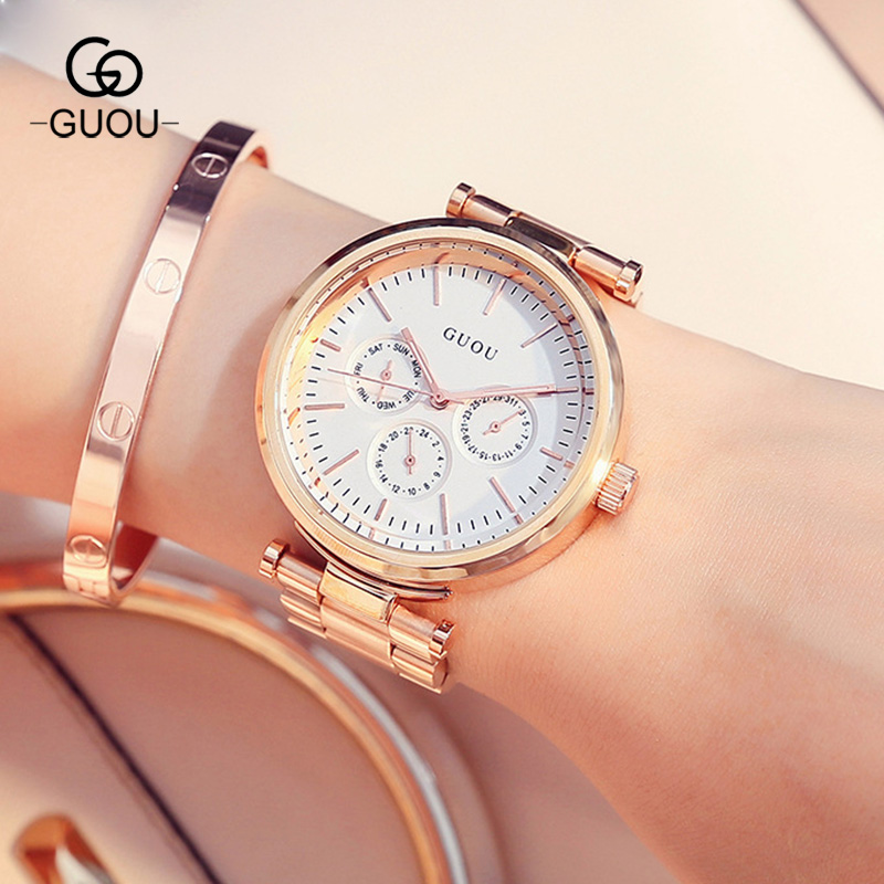 GUOU Hong Kong Brand Woman Quartz Watches Full Rose Gold Steel Band Business Casual Lady Clock Bracelet Wristwatches Gift GU003