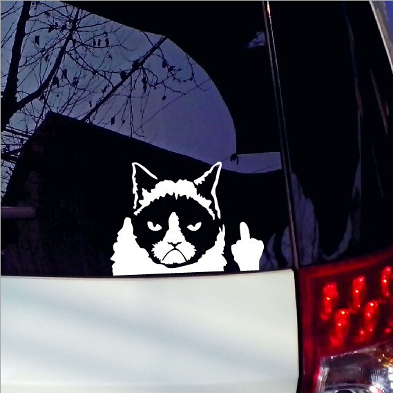 New 11 16cm 2017 Car Stickers Grumpy Cat Angry Cat Fashion Cars Motorcycle Decal Styling font