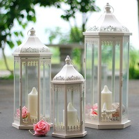 European Outdoor Floor Iron Candlestick Lantern Home Decoration Hollowed Candle Holders Transparent Glass House Candle Holders