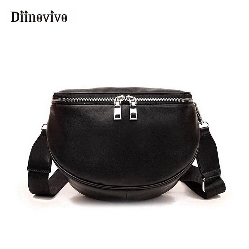 Diinovivo модные женские туфли дизайнерские сумки полукруглый женская Кроссбоди мешок нормкор/минималистский Стиль черный сумка WHDV0017