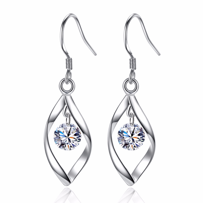 100 925 sterling silver fashion shiny crystal flower ladies drop earrings jewelry wholesale birthday gift Anti allergy in Drop Earrings from Jewelry Accessories