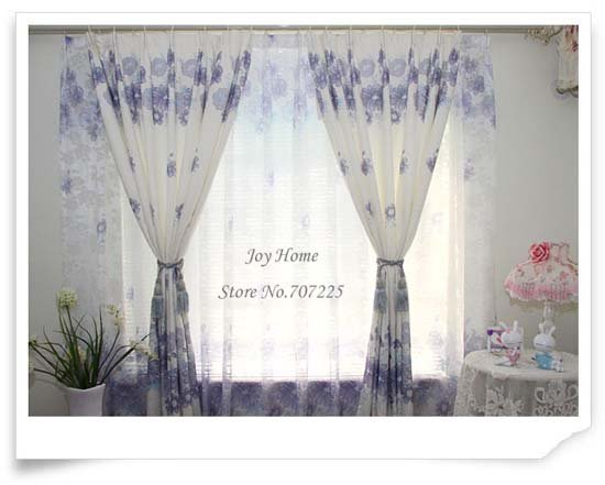 2011 New Style High Quality Printed Fabric, Window Curtain/Panel, Lovely Printed Curtain/Panel, Blue Flowers, Wholesale+Retail
