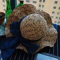 Синий Цвет Кружево Лук узел Украшения Staw Шляпы Для Женщин девушки Шляпа Солнца Новый Летний Модельер Пляж Рыбалка 2016031416 u2
