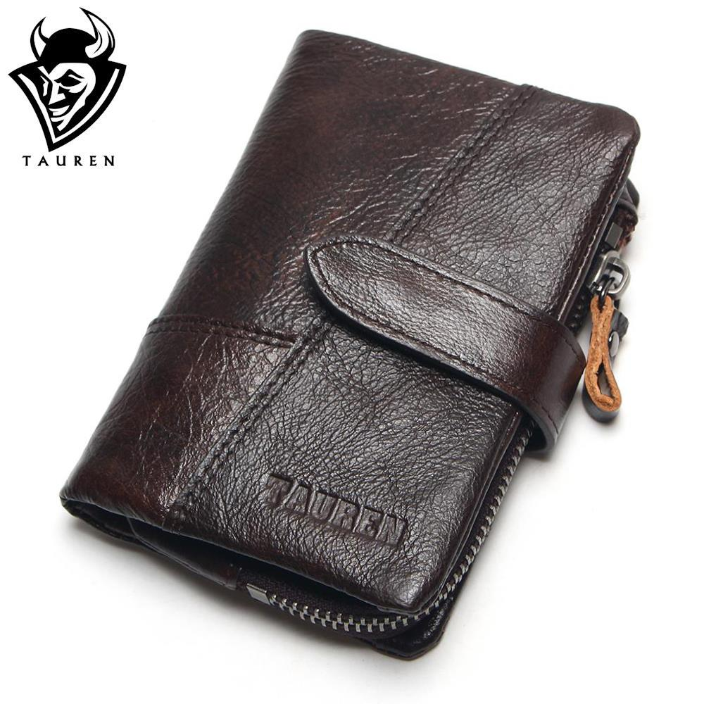 TAUREN OIL WAX Cowhide Genuine Leather Men Wallets Fashion Purse With Card Holder Vintage Long Wallet Clutch Wrist Bag vintage genuine leather wallets men fashion cowhide wallet 2017 high quality coin purse long zipper clutch large capacity bag