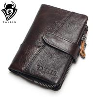 TAUREN OIL WAX Cowhide Genuine Leather Men Wallets Fashion Purse With Card Holder Vintage Long Wallet