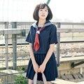 2017 nuevo traje de marinero uniforme de estudiante conjunto uniforme escolar falda plisada servicio clásico japonés uniformes conjunto de estilo de muy buen gusto