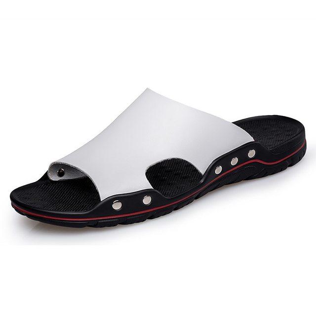 남성 슬립 온 가죽 슬리퍼 슬라이드 캐주얼 샌들 플러스 사이즈 38 48 솔리드 컬러 간결한 디자인 남성 여름 해변 신발