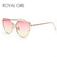 Royal girl высокое качество vintage солнечные очки женщин металлический каркас cat eye солнцезащитные очки ombre оттенков ss720