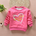 2016 Hot selling New Baby Girls T-Shirt Printed Cute peach heart Long Sleeve Thickening Clothing sweet Style T-Shirt