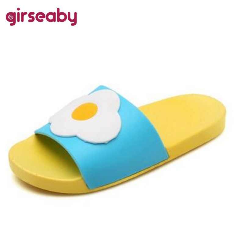 4da69de5b Girseaby/горячая Распродажа милые летние женские туфли без задника фрукты  мультфильм пляжные шлепанцы повседневные Босоножки
