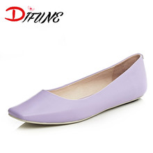 2016 new fashion Women's comfortable solid shallow girl Slip On Ballet girl's Flats cowhide genuine leather flats for female