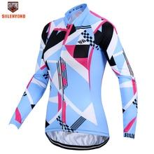 SIILENYOND Lareina Autumn 100% Polyester Women Cycling Clothing Ropa Ciclismo UV Racing Womens Bike Shirt Cycling Jerseys 2017