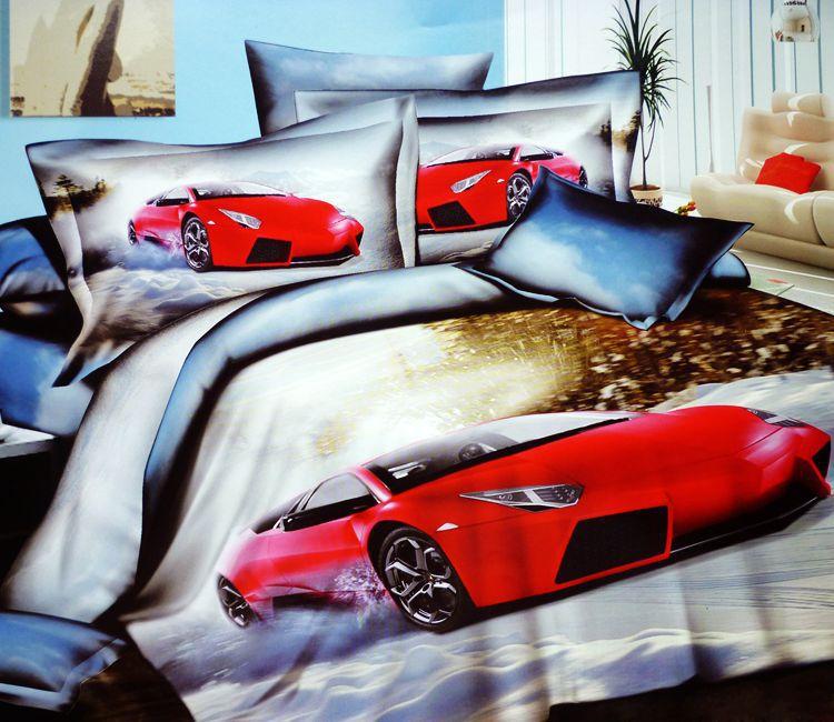 3d Race Cars Cotton Bedding Comforter Set Queen Size