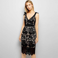 2018 New Arrival Fashin Black Lace Dress Sexy Sleeveless Deep V Neck Elegant Evening Party Dresses Vestidos Women Bandage Dress