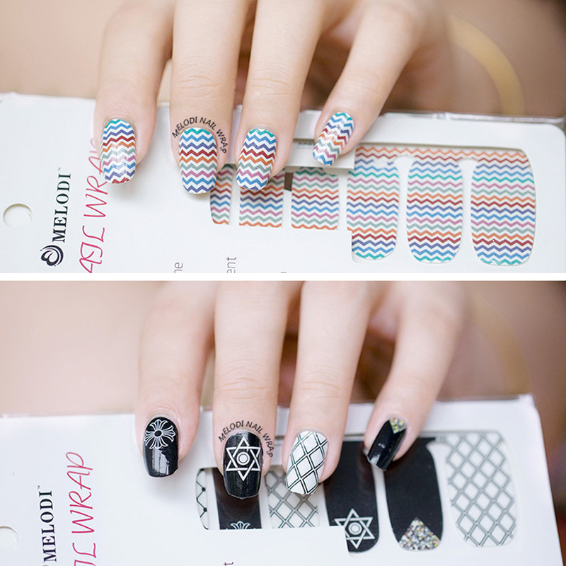 2016 New Fashion Nail Art Stickers Adhesive ManicureTools Full Cover ...