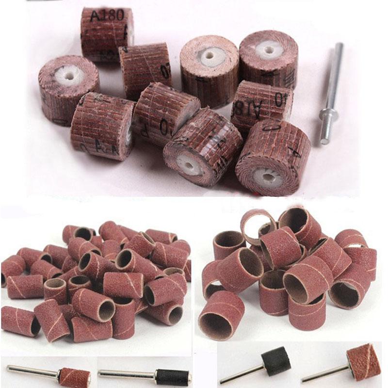 70x manguitos de lijado discos de lija de tambor discos abrasivos rueda de pulido para carpintería dremel mini herramientas de perforación accesorios
