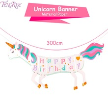 FENGRISE Happy Birthday Unicorn Banner Bunting Hanging Glitter DIY Garland party Decoration Party