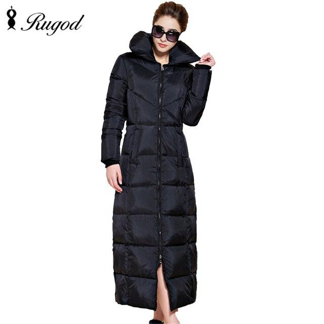 Rugod 2017 New Fashion Solid Winter Extra Lange Frauen Wintermantel