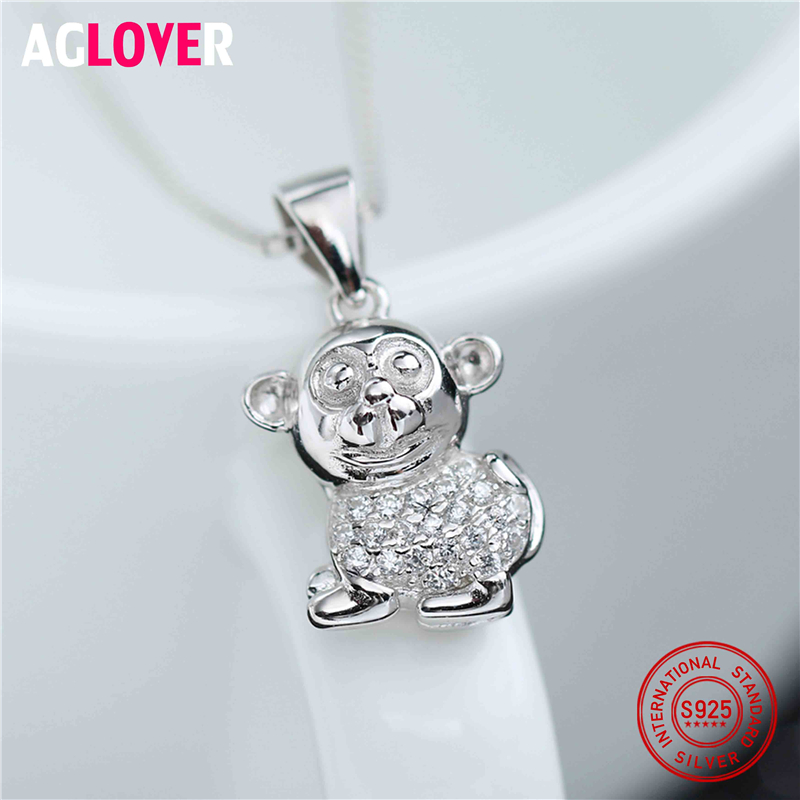 Authentic 100 925 Sterling Silver Lovely Monkey Exquisite Women Pendant Necklace Luxury Sterling Silver Chain Jewelry in Necklaces from Jewelry Accessories