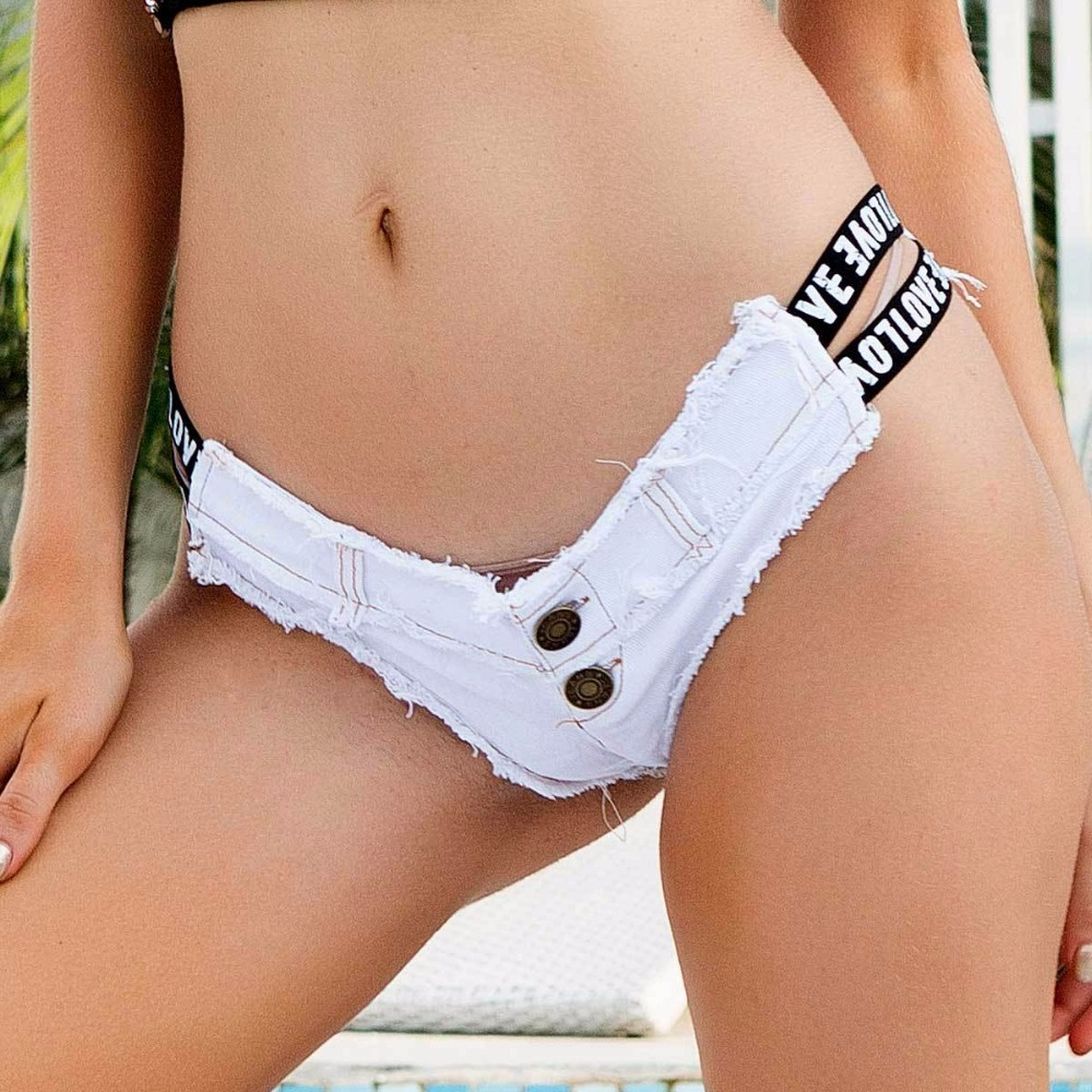 2018 New Women's Sexy Booty Cut Off Denim Shorts Low Waist Letter Hole Denim Jeans Shorts