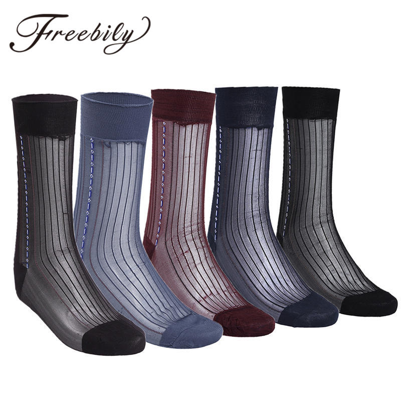 FREEBILY 3 Pairs Men Casual 100% Silk Socks Summer Socks for Male Transparent Sexy Men Stockings Dress Gay Antibacterial socks