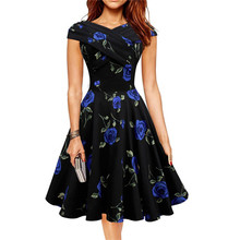 2016 Vintage Audrey Hepburn Dresses Sweet Ball Gown Women Flower Dress Black Party Dresses Retro Slim Plus Size Vestido Feminino