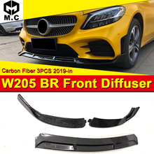 все цены на Fits For Mercedes-Benz C-Class W205 Sport Front Bumper Lip Spoiler Carbon fiber 3pcs For Brabus-style Front Lip Splitter 2019+ онлайн