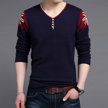 winter men's SWEATER collar V young Korean cultivating pullover men knitted sweater printing down kerst trui sueter hombre