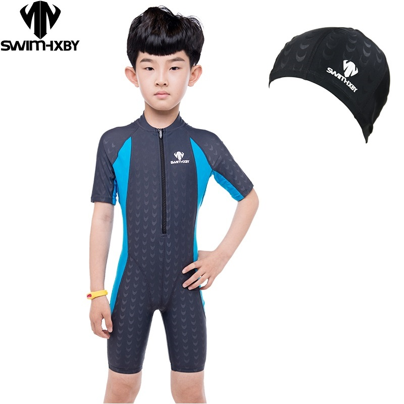 HXBY HXBY Competition Short Sleeve Girls Swimsuit Kids Swimwear Boys Swimming Suit For children Bathing Suits One Piece Swimsuit