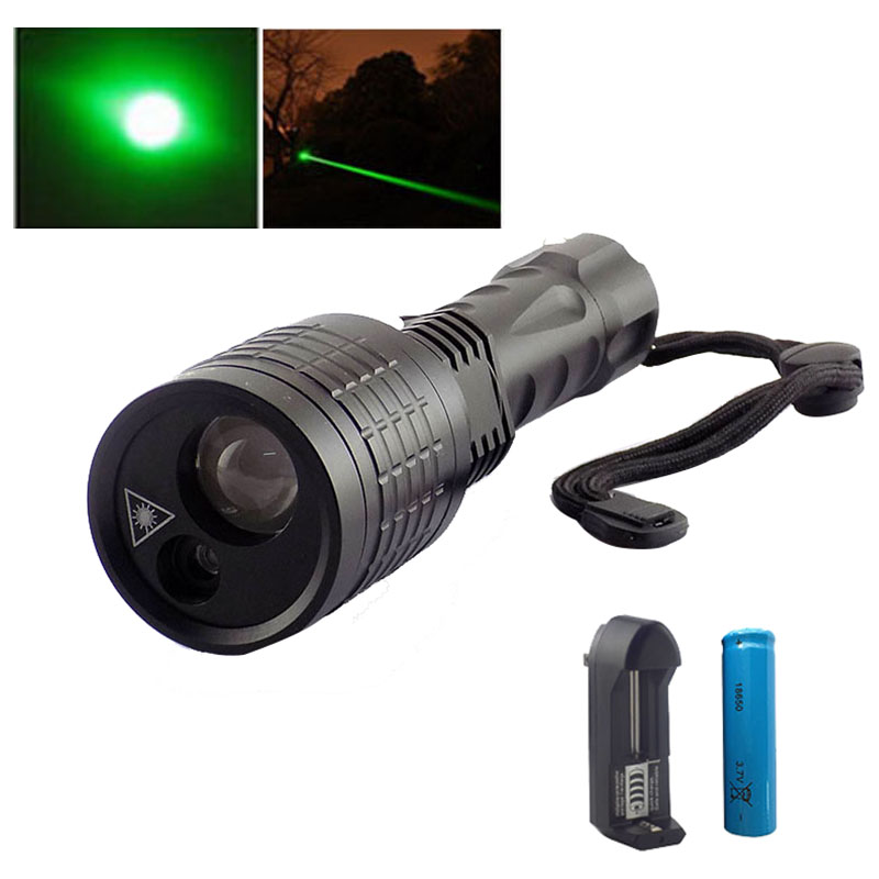 2 in 1 Led Flashlight Search Led light flash light with Green Laser pointer lazer light lamps for fishing hunting 18650 Battery