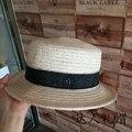Doble M letras aleros planas corta de lino pequeño sombrero de paja femenino elegante sombrero plano a lo largo de la sombrilla se previene toma el sol en la playa