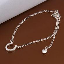 Новое Прибытие! посеребренные Браслеты, стерлинг-серебро-ювелирные изделия шарма способа Браслеты горный хрусталь И цепь ноги Ножные Браслеты для женщин