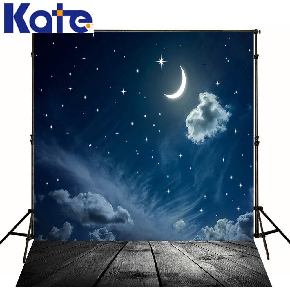 5 * 6.5Ft (150*200 cm) kate Photographie Décors Plancher de Bois Nuit Ciel Lune Nuage Milieux Milieux Pour Photo Studio