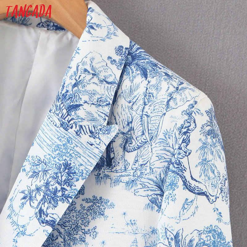 Tangada mode boom print blauw pak blazer voor vrouwelijke lange mouwen notched kraag vrouwelijke blazer elegante dames werken tops SL119