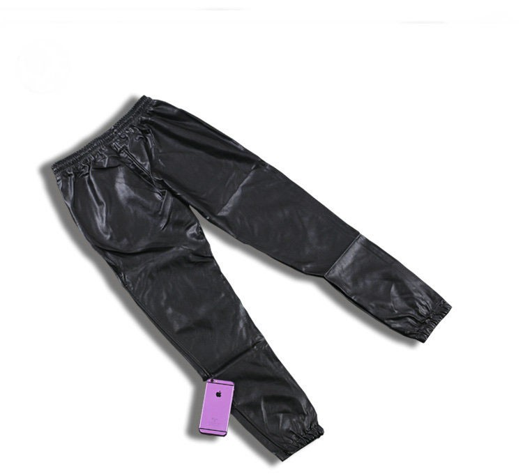 PU Leather Pants Men Elastic Waist Plus Size Side Zipper Hip Hop Leather Trousers Fashion Kanye West Justin Bieber Style Pants (4)