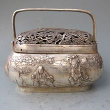 Chinese Old Silver Bronze Carved He & Immortals Baskets Lid w Xuan De Mark