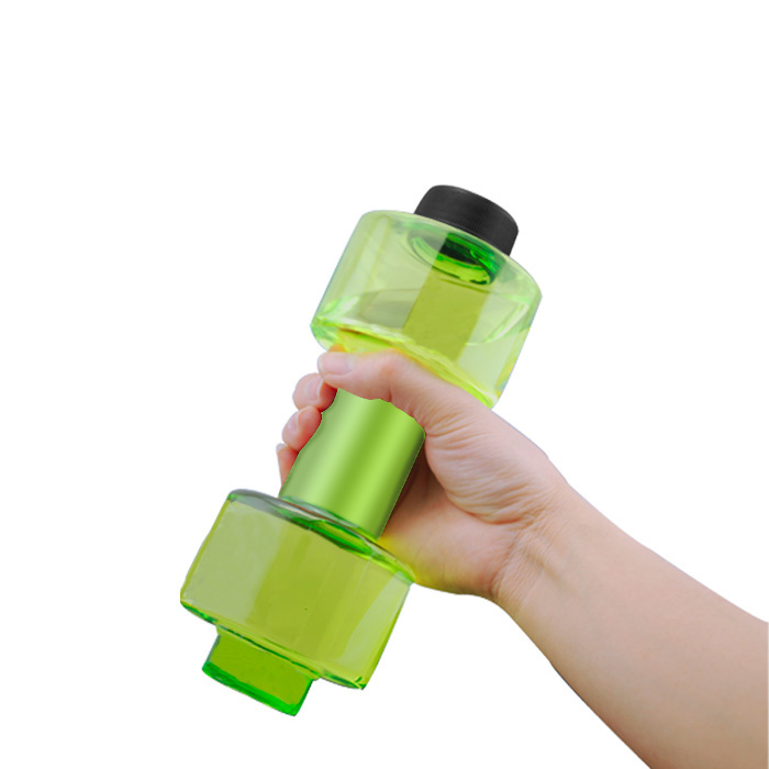 550ml Fashion Portable Sport Water Bottles Plastic Creative Dumbbell Shape Leakproof Transparent Kettle Hot Sale