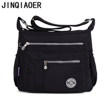 JINQIAOER Women Messenger Bag Nylon Ladies Tote Shoulder Bag Handbag Solid Waterproof tassen Satchels Designer Crossbody Bags