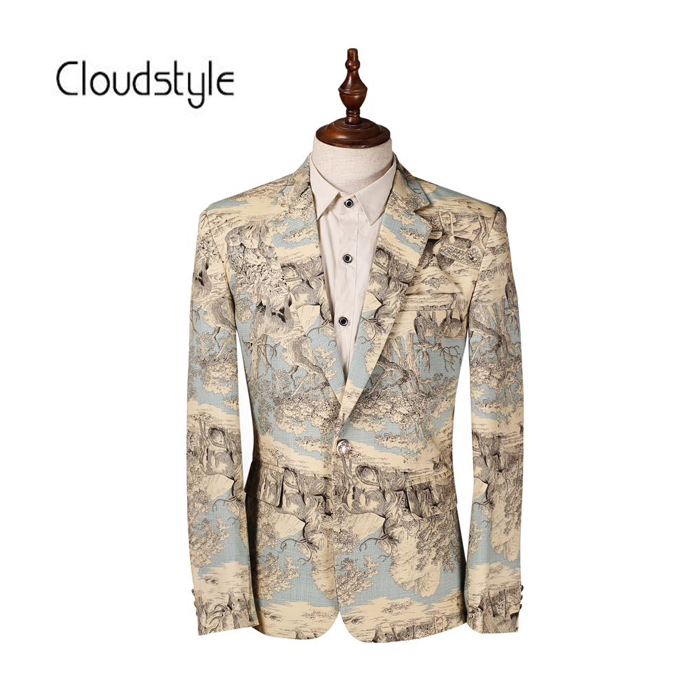 Cloudstyle Fashion 3D Print Mens Blazer Slim Custom Fit Tuxedo Brand Fashion Casual Business Dress Suits