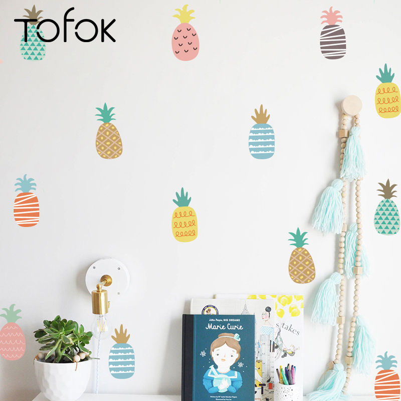 Tofok 24pcs Colorful Pineapple Wall Stickers Nordic Style Wall Decal Children Room Nursery Wall Decor Stickers Living Room Mural девочка и кошка