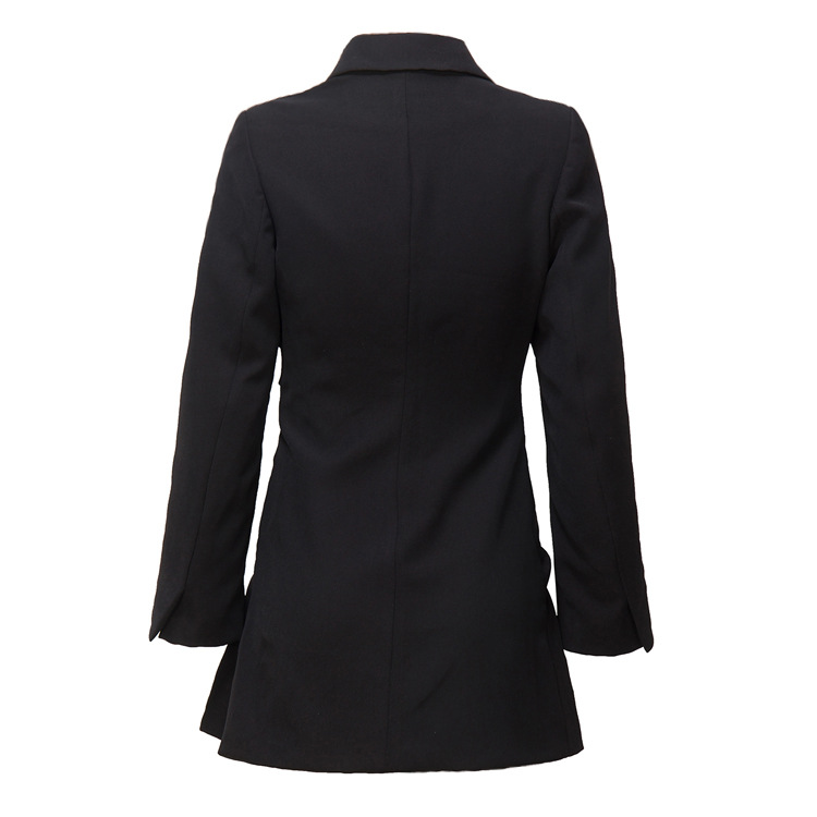 2019 Autumn And Winter New European And American Female Black Twill Long Deep V Suit Collar Dress Style Blazer Black Suit Women