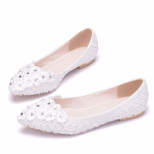 Classic Shoes Women Casual Pointed Toe White Wedding Office Lady Shoes For Women Flats Comfortable Slip On Women Shoes XY-A0195 flamingo shoes 92b xy 1650 shoes for children 23 28