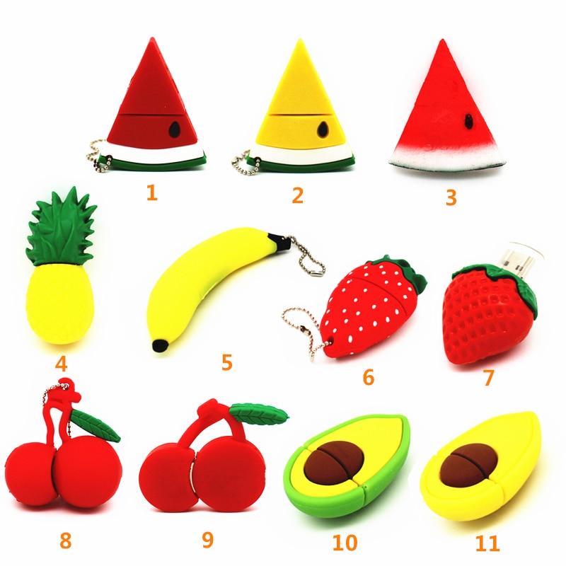 Pendrive Fruits Model USB 4GB 8GB 16GB 32GB Strawberry Watermelon Avocado Cherry USB Flash Drive 64GB Memory Stick Flash Disk