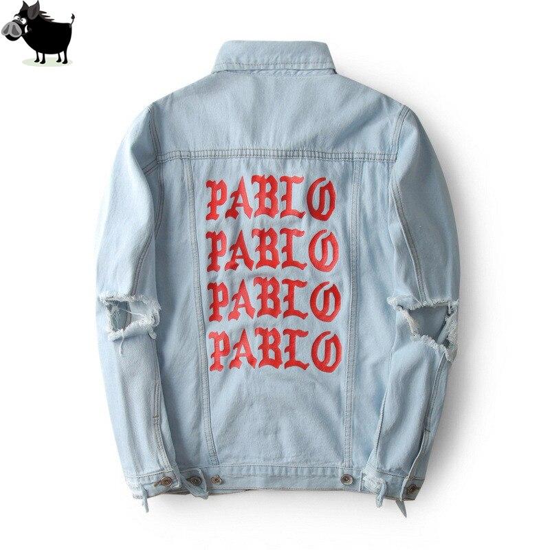 Uomo Si Tun 2018 Nuovo Pablo Kanye West Denim Giacche Uomo la Vita Di Pablo kanye Cappotti Giacca di Jeans Denim Jeans di Grandi Dimensioni S-XL