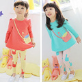Spr&Aut Cute Girls 2pcs Sets Cartoon T-shirt + Trousers Leisure Pure Cotton Sport Travel Girl's Children Cloth